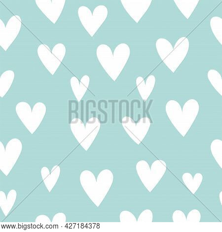 Simple Seamless Pattern With Hearts. Love, Valentine's Day, Holiday Decor And Fabrics. Vector Illust