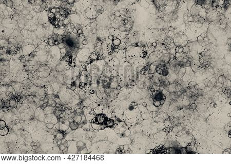 Black bubble art on beige background minimal style
