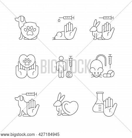 Stop Animal Testing Linear Icons Set. Pet Protection And Welfare. Vegan Cosmetic Brand Label. Custom