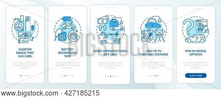 Ev Disadvantages Onboarding Mobile App Page Screen. Future Transport Lacks Walkthrough 5 Steps Graph