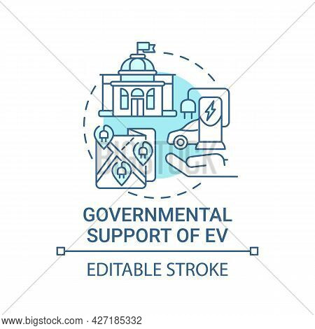 Eco Cars Governmental Support Concept Icon. Ev Buying Promotion Abstract Idea Thin Line Illustration