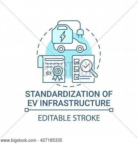 Ev Infrastructure Standardization Concept Icon. Electric Vehicles Charging Stations Accessibility Ab