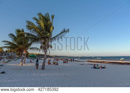 Tourists On Tulum Beach, Quintana Roo, In The Morning, Mexico