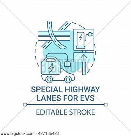 Ev Special Highway Lanes Concept Icon. Eco Car Integral Part Life Quality Abstract Idea Thin Line Il