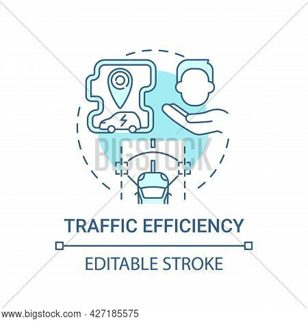 Electric Vehicle Traffic Efficiency Advantages Concept Icon. Eco-friendly Comfort Using Benefit Abst