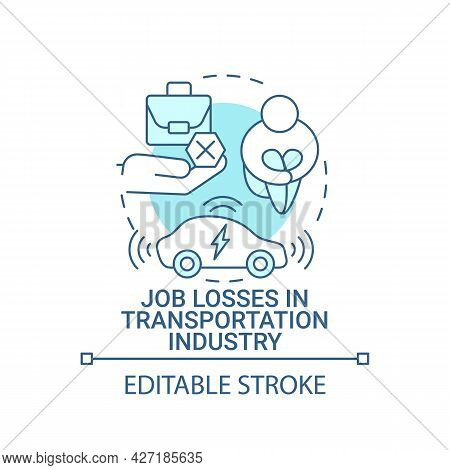 Job Losses In Transportation Industry Concept Icon. Ev Introduction Effects Abstract Idea Thin Line