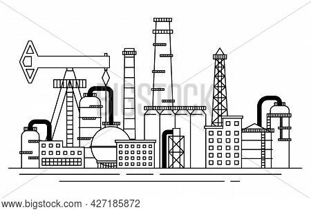 Petrochemical Industry Concept Contour Linear Style. Vector