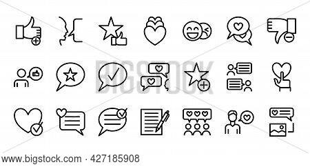 Testimonials Sign Black Thin Line Icon Set. Vector