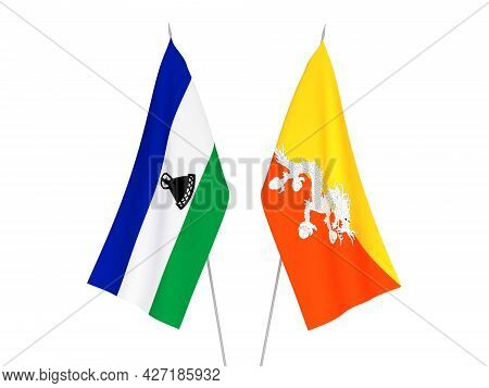 National Fabric Flags Of Lesotho And Kingdom Of Bhutan Isolated On White Background. 3d Rendering Il
