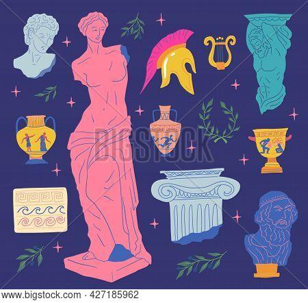 Cartoon Color Various Antique Statues Icons Set. Vector