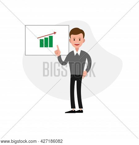 Businessman Showing A Project Clipart. Businessman Showing A Project Isolated Simple Flat Vector Cli