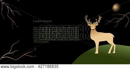 Vector  Template, Banner Mystic And Elf Theme,  Deer With Flowers In Horns, Copy Space. Black, Green
