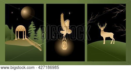 Vector Set Mystic And Elf Theme, Includes Illustrations Of House Of Elves, Deer, Owl. Black, Green A