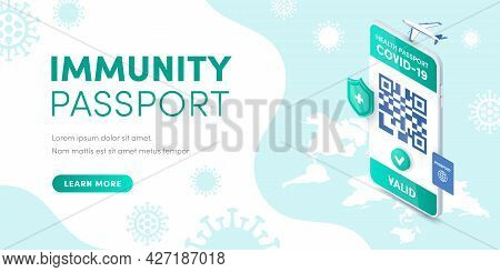Health Immunity Passport Valid Qr Code On Smartphone Screen Vector Isometric Banner Concept. 3d Elec