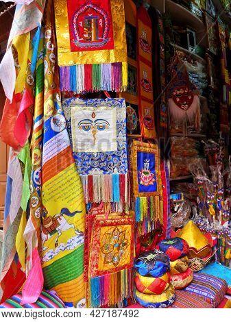 Selection Of Colourful Religious Souvenirs On Sale, Boudhanath, Kathmandu, Nepal