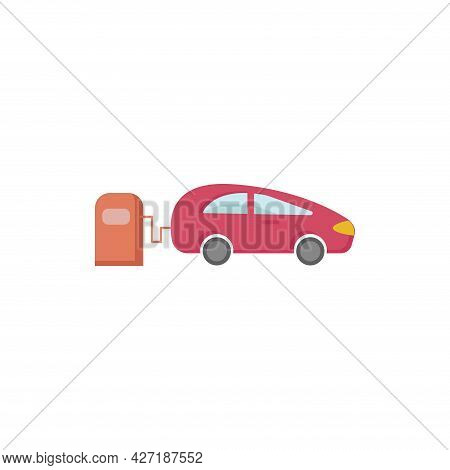 Car In Fuel Station Clipart. Car In Fuel Station Isolated Simple Flat Vector Clipart