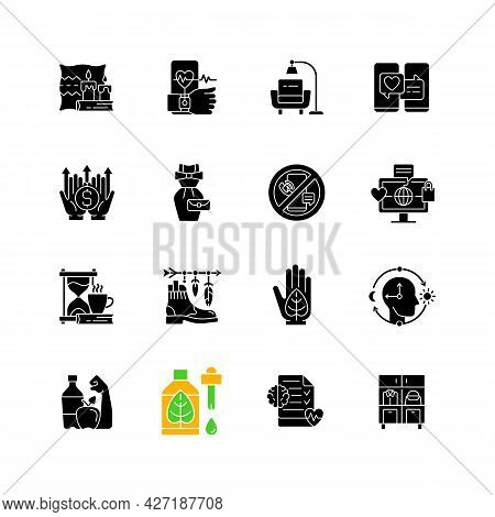Lifestyle Trends Black Glyph Icons Set On White Space. Hygge, Cozy Atmosphere. Health Tracking. Digi