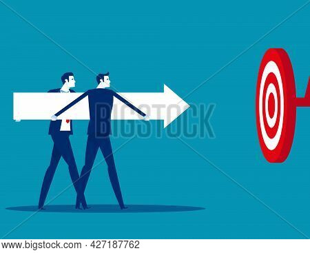 Business Team Catch An Arrow To Hit The Target