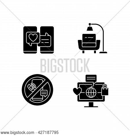 Steps Towards Healthy Living Black Glyph Icons Set On White Space. Online Dating. Minimalist Lifesty