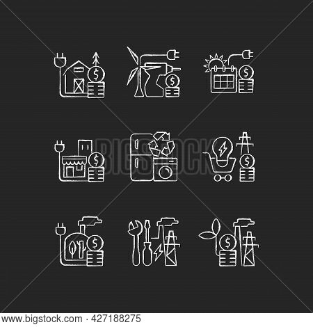 Electrical Energy Cost Chalk White Icons Set On Dark Background. Appliance Recycling Program. Utilit