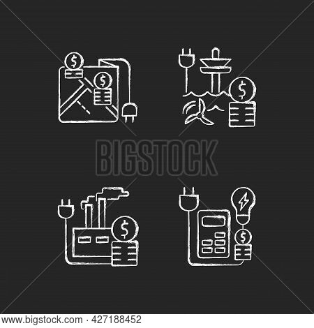 Electrical Energy Purchase Expense Chalk White Icons Set On Dark Background. Pricing By Locality. Re