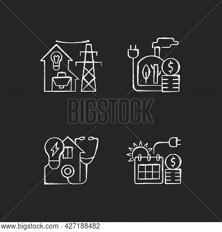 Electrical Energy Purchase Chalk White Icons Set On Dark Background. Utility Service For Residential