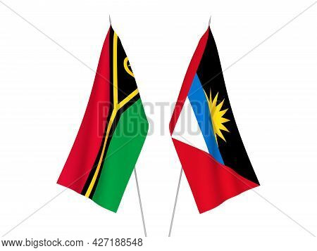 National Fabric Flags Of Antigua And Barbuda And Republic Of Vanuatu Isolated On White Background. 3