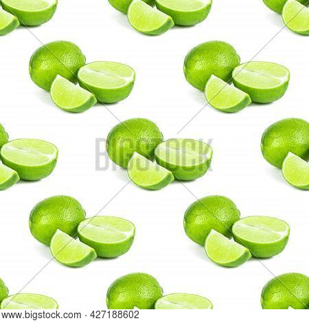 Green Limes And Lime Slices Repeat Seamless Pattern On White Background.