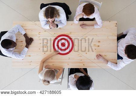 Goal Target Success Aspiration Aim Inspiration Concept, Business People Team Sitting Around Meeting