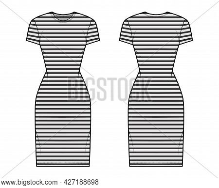 Dress Sailor Technical Fashion Illustration With Stripes, Short Sleeves, Fitted Body, Knee Length Pe