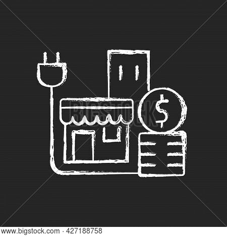 Energy Price For Commercial Customer Chalk White Icon On Dark Background. Cost For Electrical Power