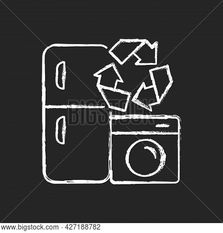 Appliance Recycling Program Chalk White Icon On Dark Background. Household Electrical Waste Collecti