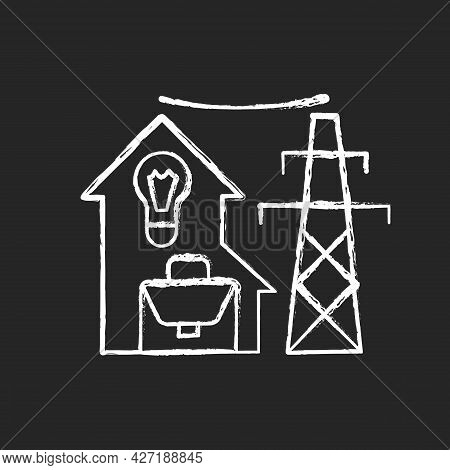 Electric Utility Chalk White Icon On Dark Background. Electricity Power Industry Production. Resourc