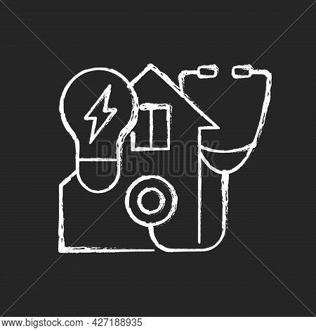 Energy Audit Chalk White Icon On Dark Background. Inspecting Residential House For Efficient Power U