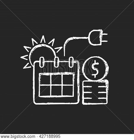 Energy Pricing In Summer Chalk White Icon On Dark Background. Electricity Cost In Seasonal Period. F