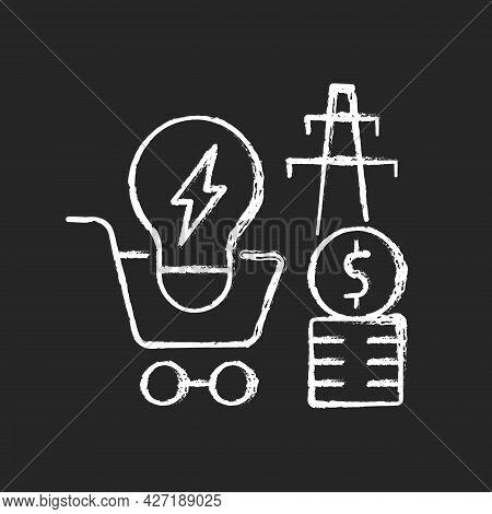 Electricity Demand Chalk White Icon On Dark Background. Electrical Power Generation Cost. Sustainabi