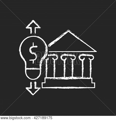 Government Energy Price Regulation Chalk White Icon On Dark Background. Community Utility Supply And