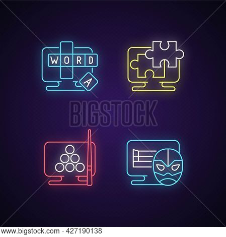 Intellectual Game Types Neon Light Icons Set. Online Word Guessing Game. Jigsaw Puzzles Solving. Wre