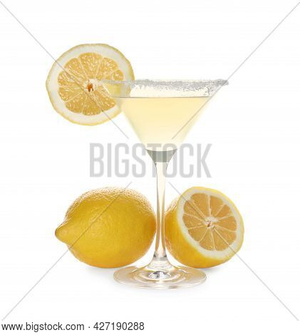 Lemon Drop Martini Cocktail And Fresh Fruits On White Background