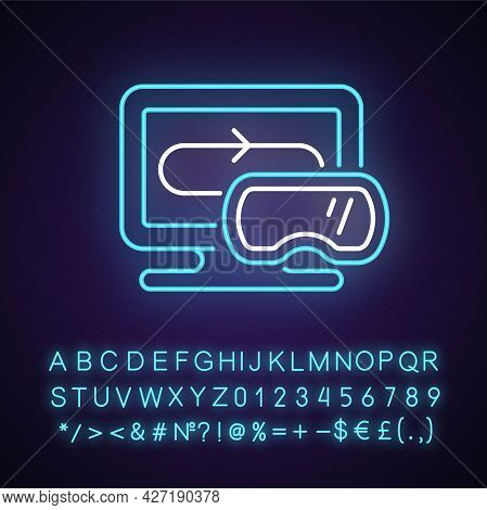 Vr Games Neon Light Icon. Modern Genre Of Video Games. Realistic First Person Action Gameplay. Outer