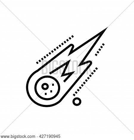 Meteor Falling Icon. Nature Disaster Vector Illustration.