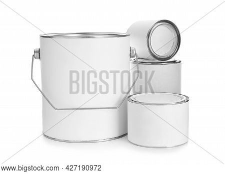 Set Of Blank Paint Cans Isolated On White