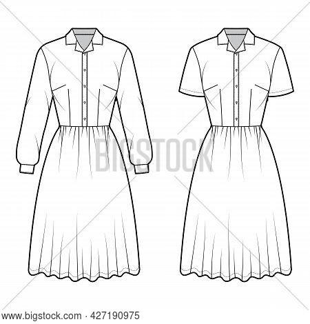 Set Of Dresses House Shirt Technical Fashion Illustration With Long Short Sleeves, Knee Length Full