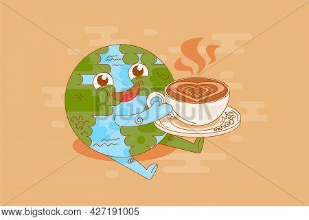 Planet Earth Coffee Break Time Enjoyment Vector