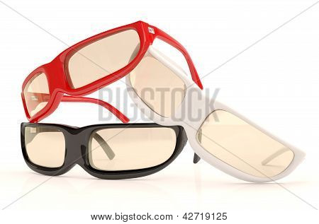 Glasses Of Different Colors : Red, White, Black. 3D Model