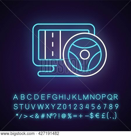 Vehicle Simulation Neon Light Icon. Innovative Car Driving Games. Outer Glowing Effect. Sign With Al
