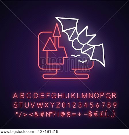 Horror Games Neon Light Icon. Popular Genre Centered On Horror Fiction Created To Scare Players. Out