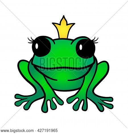 Vector Cartoon Green Princess Frog In Crown Isolated On White Background. Cute Frog Illustration