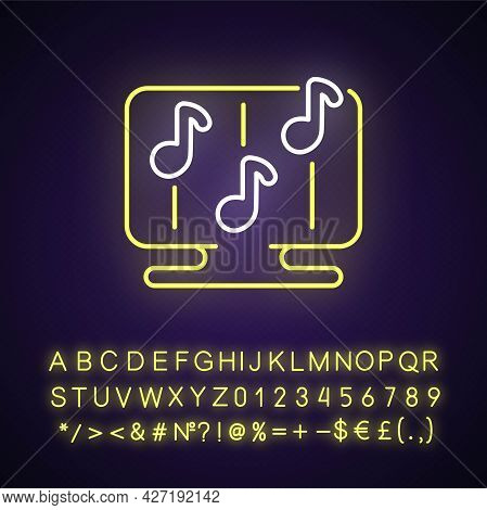 Rhythm Games Neon Light Icon. Special Game Of Music Theamed Genre. Fun Time. Outer Glowing Effect. S