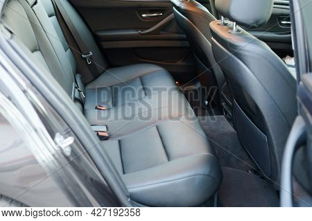Black Leather New Car Back Seat